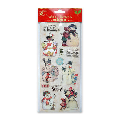 Christmas Vintage Sticker Embellishments - Snowman 1pc