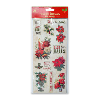 Christmas Vintage Sticker Embellishments - Holly & Berries 1pc