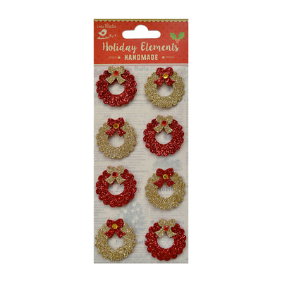 Christmas Wreath -3D Mini Glitter Stickers - Gold & Red, 6Pc