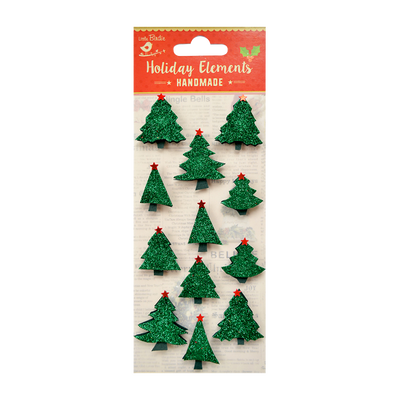 Christmas 3D Mini Glitter Trees Traditional Green 12Pc