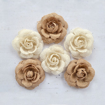 Handmade Burlap Rosie- Natural & Cream, 6pcs