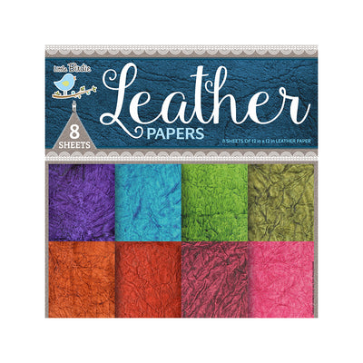 Handmade Leather Paper Assorted Colours 200gsm 8pack Little Birdie
