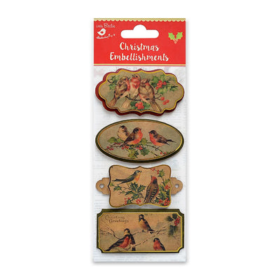 Christmas Vintage Topper Birds 4pcs