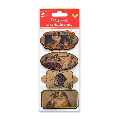 Christmas Vintage Topper Dogs And Cats 4pcs