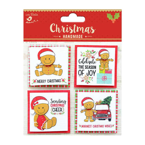 Self-adhesive Stickers - Christmas Teddy Toppers, 4pcs