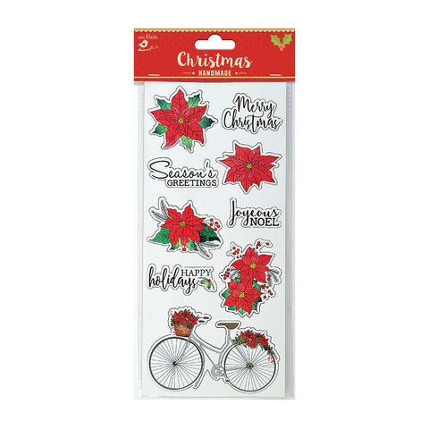 3D Sticker - Christmas Poinsettia with Wishes, 1pc