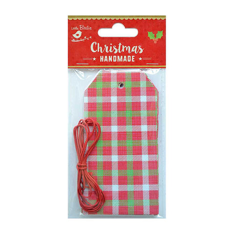 Christmas Printed Tags with Cotton Cord 2mtr- Checkered Print, 20pcs