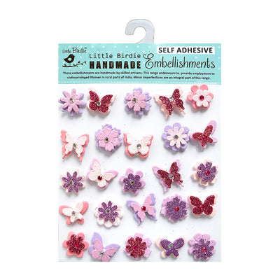 Glitter Embellishments-  Blooms and Butterflies Pink, 20pcs