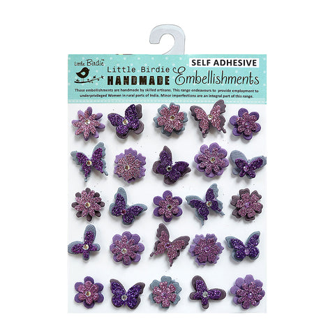 Glitter Embellishments-  Blooms and Butterflies Purple, 20pcs