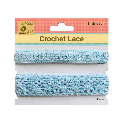 Crochet Lace Trim Blue(15,35)mm 1m Each Zaodno