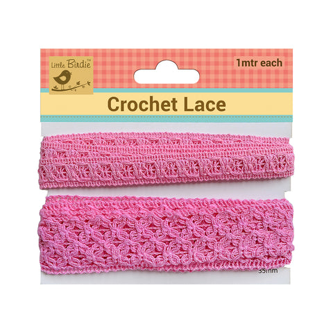 Crochet  Lace Trim Pink  (15,35)mm 1m Each Zaodno