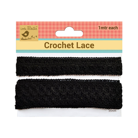 Crochet  Lace Trim Black (15,35)mm 1m Each Zaodno