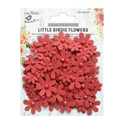 Handmade Flower Pearl Florettes - Cherry Red, 80pcs