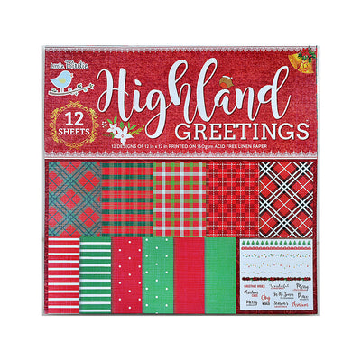 Tartan Printed Pattern Paper - 12in X 12in, 12sheets, 230gsm