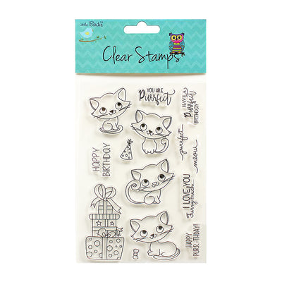 Clear Stamps Purrfect Birthday 14Pc Little Birdie