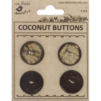 Coconut Button - Small, 2 Hole, 4Pc Little Birdie