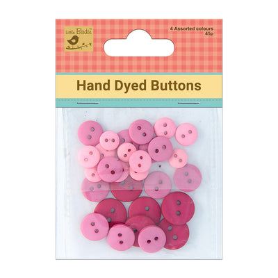 Hand Dyed Buttons (4,6,8) mm, (Approx) Assorted  Strawberry Crush 45Pc Little Birdie