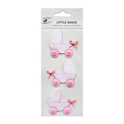 Pretty Pram Pink 3Pc Little Birdie