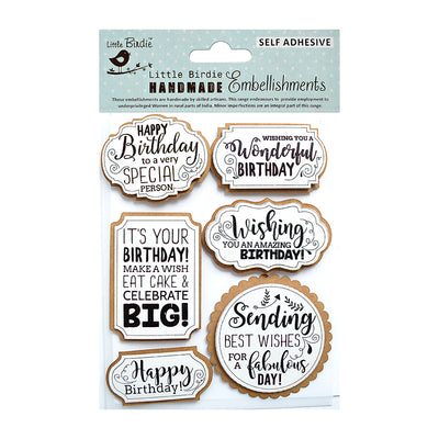 Birthday Wishes Embellishments 6Pc