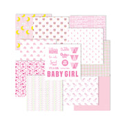 "Baby Girl Pattern Paper 12"" x 12"" 12pack 250gsm Little Birdie"