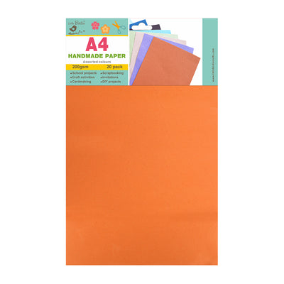 A4 Handmade Paper Assorted Colours 200gsm 20pack Little Birdie