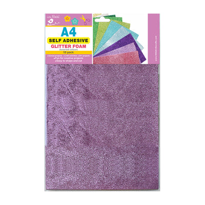 A4 Glitter Foam Assorted Colours Self  Adhesive 10pack Little Birdie