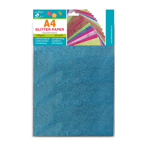 A4 Glitter  Handmade Paper Assorted Colours 200gsm 20pack Little Birdie