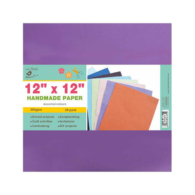 Handmade Paper Pack - Assorted Colours, 200gsm, 12x12 inch, 20sheets Little Birdie