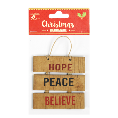 Christmas Mini Pallet Ornaments Hope Peace Believe 1pc