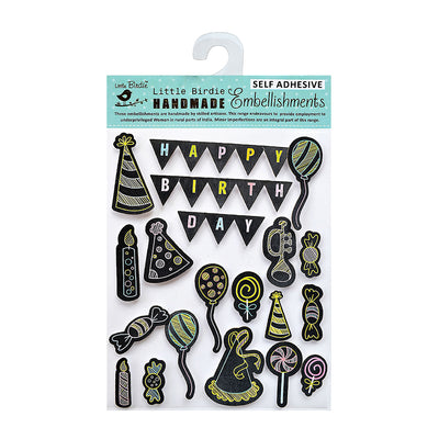 3D Chalk Stickers - Happy Birthday Balloons, 20Pc Little Birdie