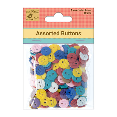 Assorted Colour Buttons 50G Little Birdie