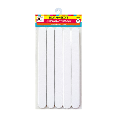Jumbo Self Adhesive Craft Sticks - White, 15Pc Little Birdie