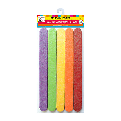 Jumbo Self Adhesive Glitter Craft Sticks - Bright, 15Pc Little Birdie