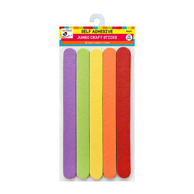 Jumbo Self Adhesive Plain Craft Sticks - Bright, 15Pc Little Birdie