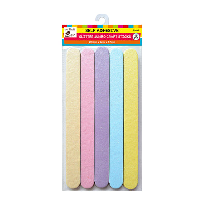 Jumbo Self adhesive Glitter Craft Sticks - Pastel, 15Pc Little Birdie
