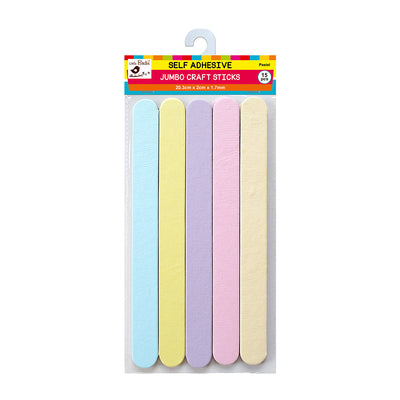 Jumbo Self Adhesive Plain Craft Sticks - Pastel, 15Pc