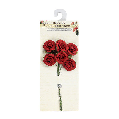 Handmade Open Rose - Red, 25mm, 6Pc Little Birdie