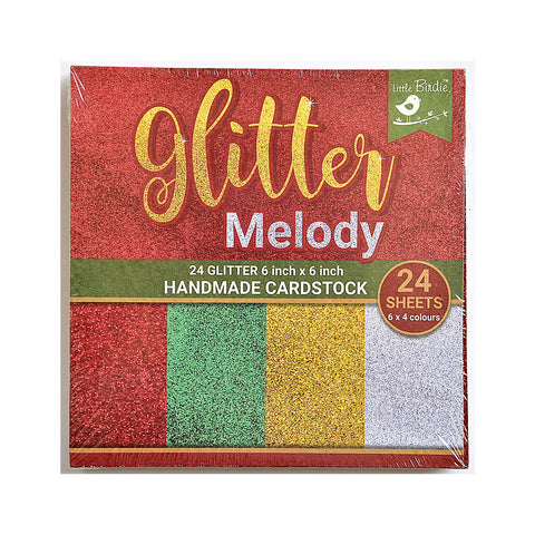 Christmas Glitter Handmade Card Stock - 6'' x 6'' 24Sheets