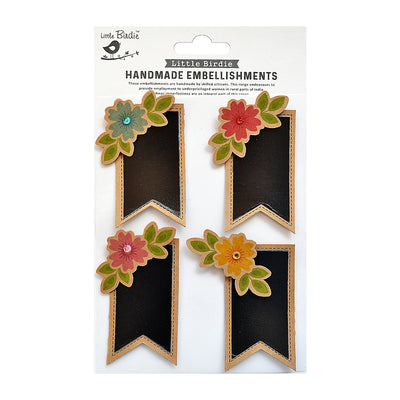 Chalk label Banner Design With Printed Embellishment 4Pc