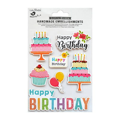 Happy Birthday Wishes Self Adhesive Embellishment 7Pc