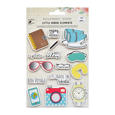 Lets Travel the World Sticker Embellishment 15Pc