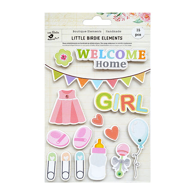 Welcome Home Baby Girl Sticker Embellishment 15Pc