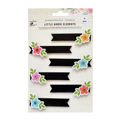 Self adhesive Stickers - Blooming Chalk Tags, 6pcs