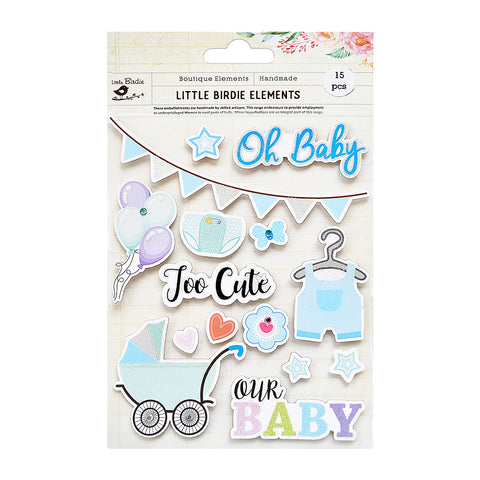Oh Baby Too Cute Sticker Embellishment 15Pc Little Birdie
