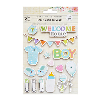Welcome Home Baby Boy Sticker Embellishment 16Pc Little Birdie