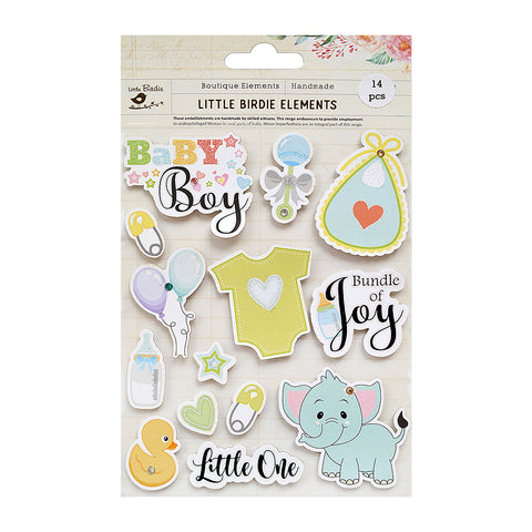 Little One Baby Boy Sticker Embellishment 14Pc Little Birdie