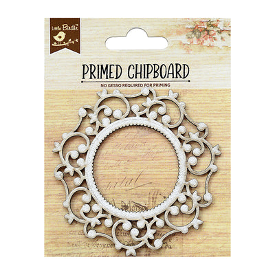 Chipboard Elegant Swirls - Round Frame 1pc Little Birdie