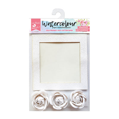 Watercolor Paper Square Frame Roses 4Pc