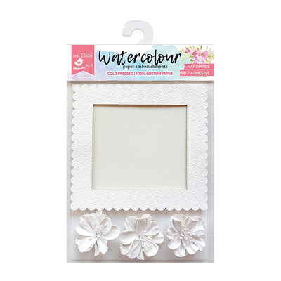 Watercolor Paper Deckle Frame Blooms 4Pc