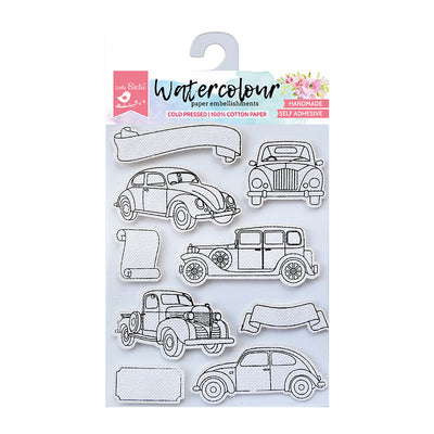 WaterColour Embellishment Self Adhesive - Vintage Cars 9Pc